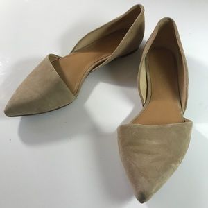 J CREW women's tan leather pointed toe flats